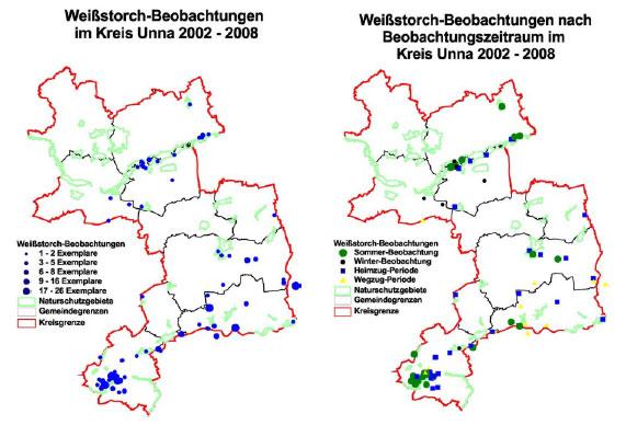 Räumliche Verteilung beobachteter Weissstörche (links: Gesamtjahresperiode; rechts: aufgeschlüsselt nach Sommer-, Winter- und Zugzeiten) im Kreis Unna 2002 bis 2008
